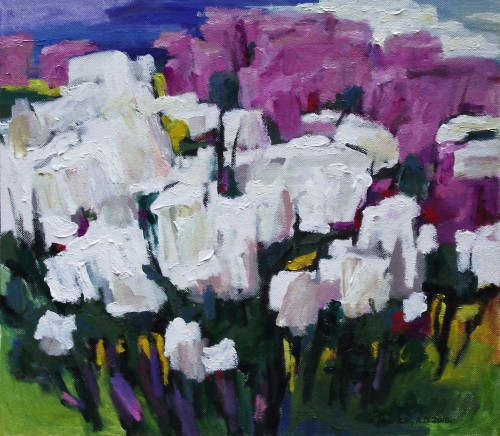 Blossoming Lilacs original painting by Albinas Markevičius. Flowers