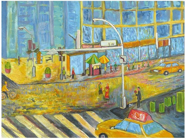 City original painting by Dalius Virbickas. Acrylic painting