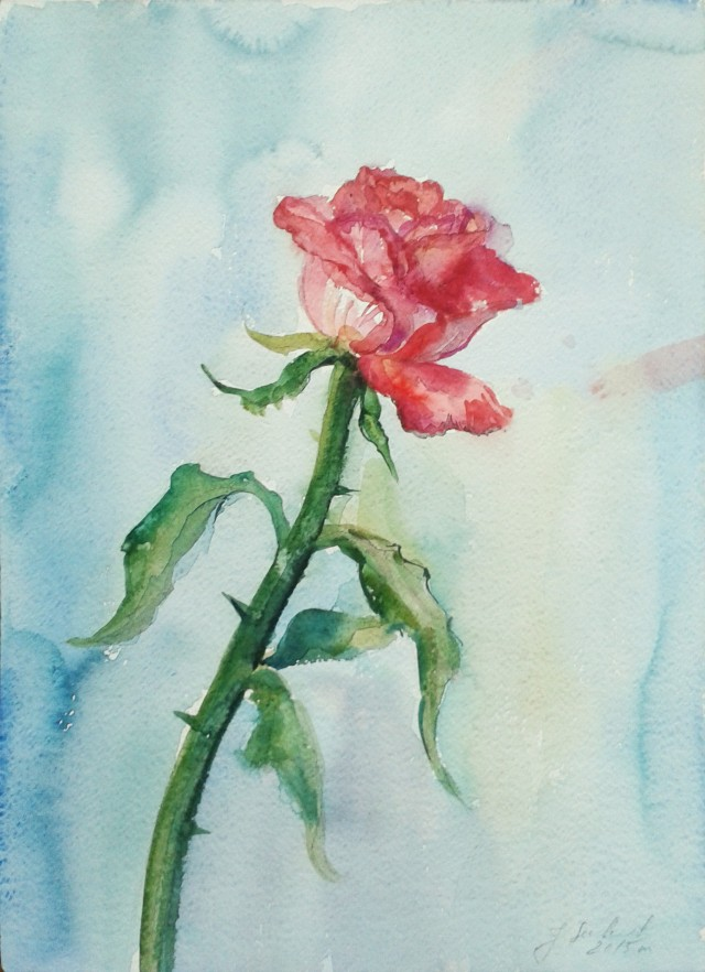 Rose original painting by Jolanta Sereikaitė. Flowers