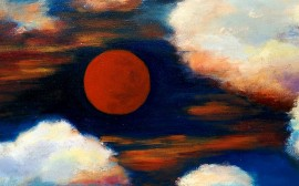 Red Moon original painting by Irena Jasiūnienė. Landscapes