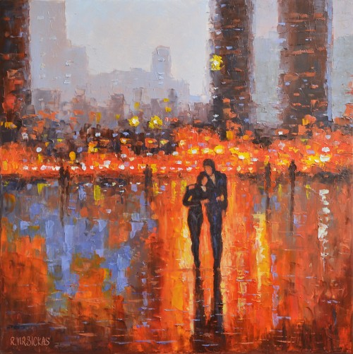 In the City Lights original painting by Rimantas Virbickas. Paintings With People