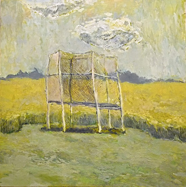 Trampoline in the Field original painting by Dovilė Bagdonaitė. Landscapes
