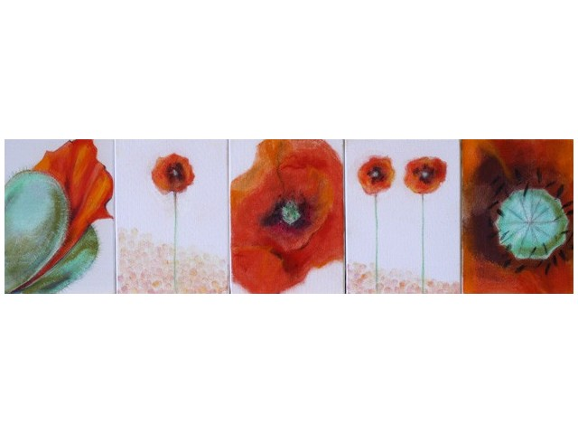 Improvisation. Flowers: Poppies original painting by Gražina Luckutė-Bukienė. Pastel