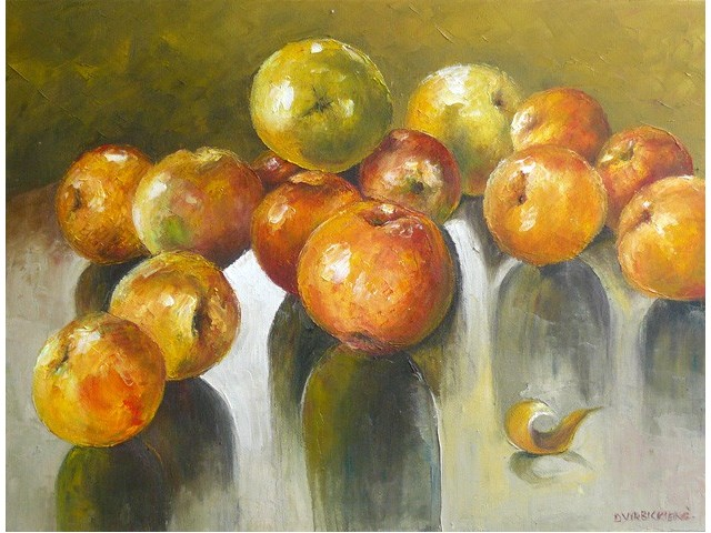 Apples original painting by Danutė Virbickienė. Oil painting