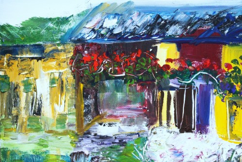 House in White original painting by Kristina Čivilytė. Abstract Paintings