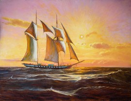 Brigantina original painting by Jonas Kozulas. Oil painting