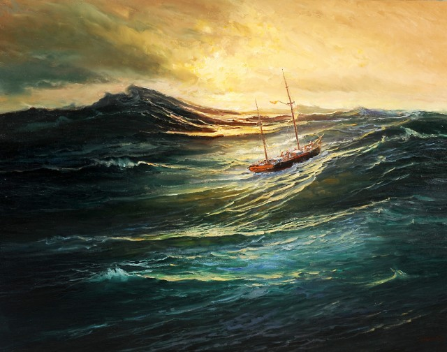 After the Storm original painting by Jonas Kozulas. Marine Art