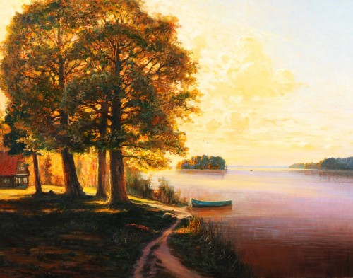 Near the Lake original painting by Jonas Kozulas. Landscapes