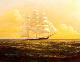 With a Favorable Wind original painting by Jonas Kozulas. Marine Art