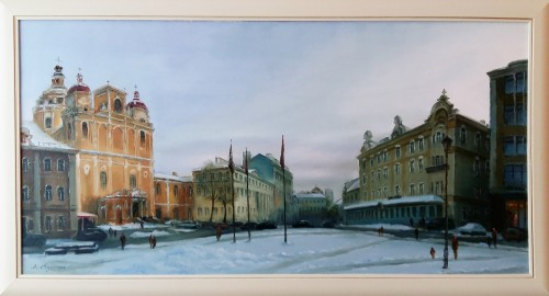 The Main Street original painting by Aleksandras Lysiukas. Oil painting