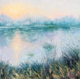 Sunrise Above the River original painting by Rita Medvedevienė. Landscapes