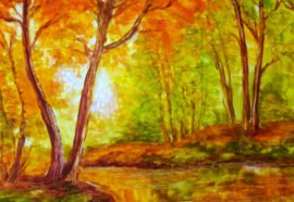 Autumn original painting by Natalija Riabčuk. Other technique