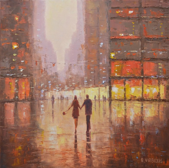 Two in the City original painting by Rimantas Virbickas. Urbanistic - Cityscape