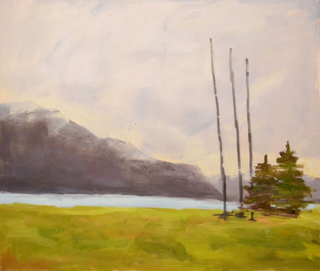 Landscape with Mountains and Firs original painting by Karolina Latvytė. Landscapes