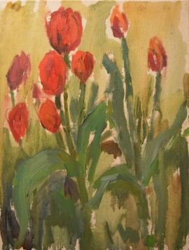 Tulips original painting by Karolina Latvytė. Flowers