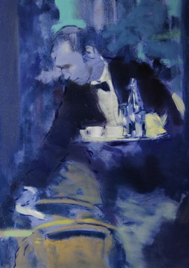 Waiter 4 original painting by Vygandas Doveika. Paintings With People