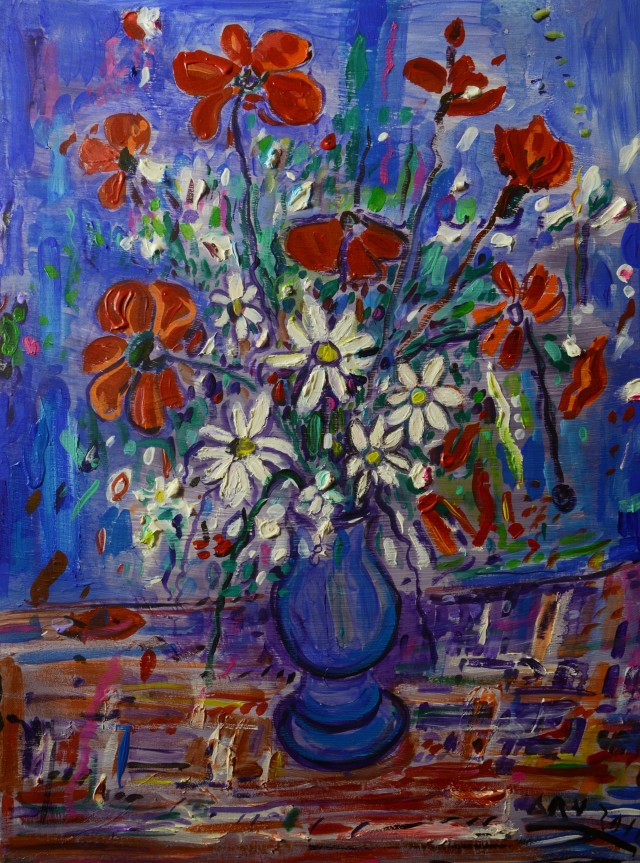 Poppies original painting by Arvydas Martinaitis. Still-Life