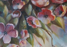 Flowering original painting by Lina Videckienė. Flowers