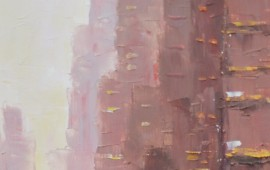 In the Big City original painting by Rimantas Virbickas. Urbanistic - Cityscape