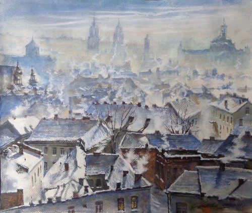Vilnius in Winter original painting by Raigardas Kudirka. Urbanistic - Cityscape
