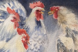 All Against One, One Against All or Rooster is Rooster Even in Africa original painting by Eglė Lipinskaitė. Animalistic Pain...