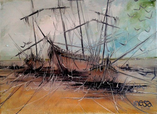Ships 2 original painting by Inesa Škeliova. For offices