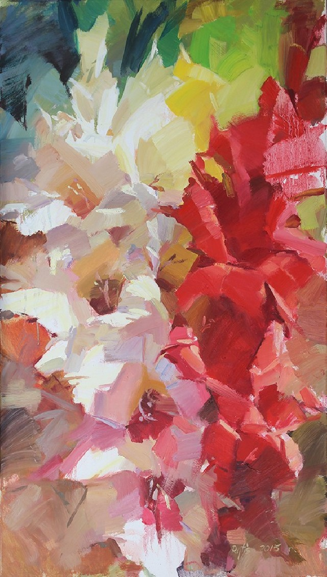Gladioli 5 original painting by Rytis Garalevičius. For large spaces