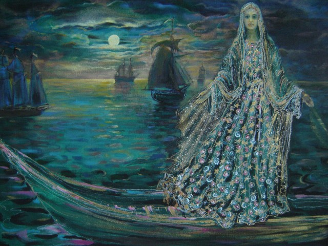 Sea Girl original painting by Jolanta Grigienė. Acrylic painting