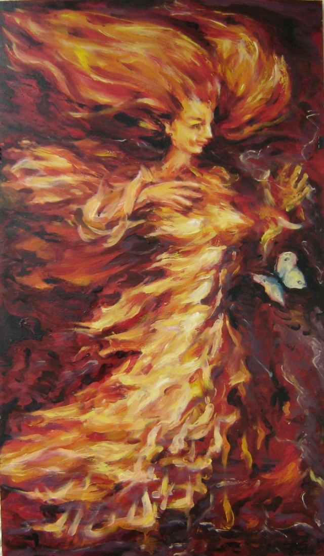 Fire And Butterfly original painting by Jolanta Grigienė. Fantastic