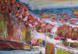 City is waiting for the Spring original painting by Gitas Markutis. For large spaces