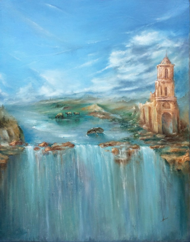Waterfall original painting by Vaidas Bakutis. For large spaces