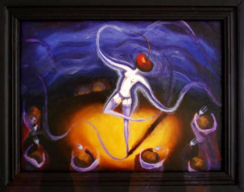 Dance for Soul Beggars original painting by Theresa Van Cherry. For offices