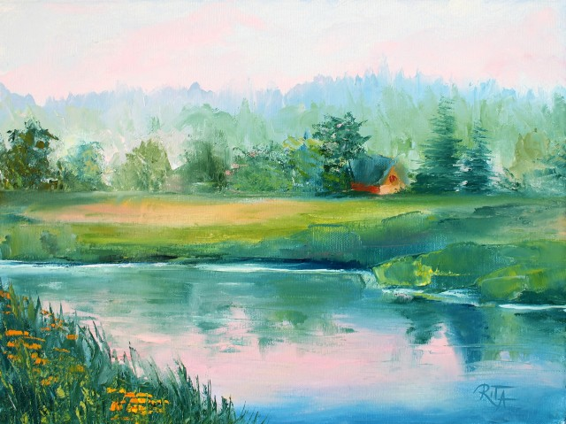 Near the River original painting by Rita Medvedevienė. For living room
