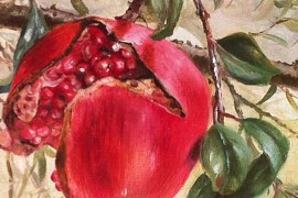 Pomegranate original painting by Onutė Juškienė. For the kitchen