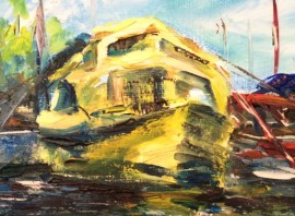 Yelow Yacht original painting by Rita Krupavičiūtė. For living room