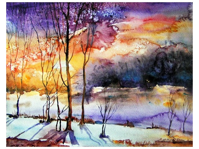 First Snow original painting by Svetlana Grigonienė. Watercolor painting