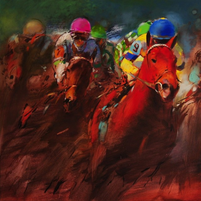Race II original painting by Vygandas Doveika. Oil painting