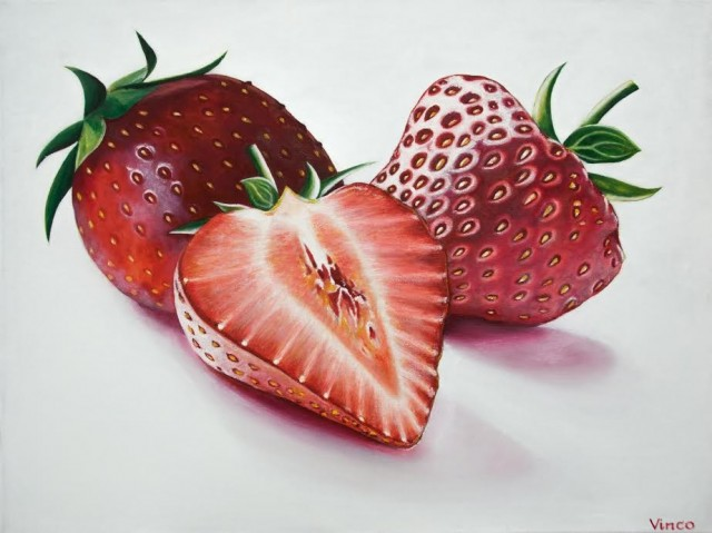 Strawberries original painting by Vincas Bareikis. For the kitchen