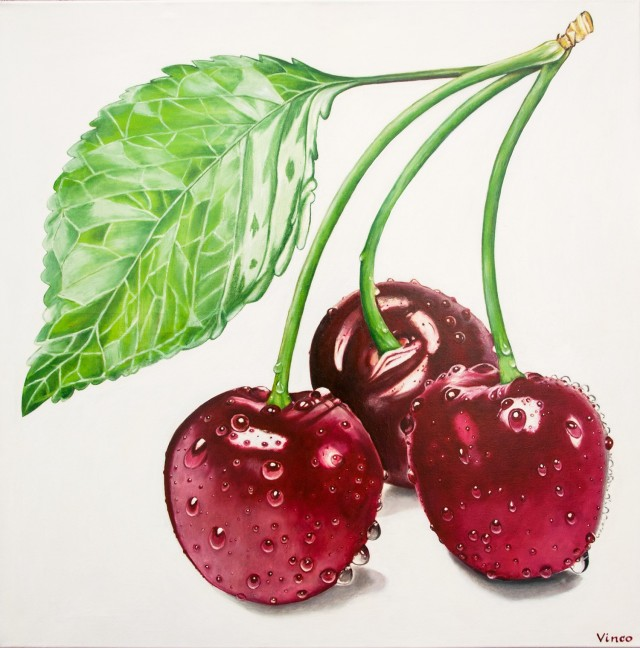Cherries original painting by Vincas Bareikis. For the kitchen