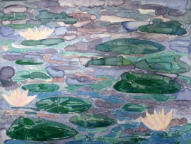 Water Lilies original painting by Gabrielė Prišmantaitė. Other technique