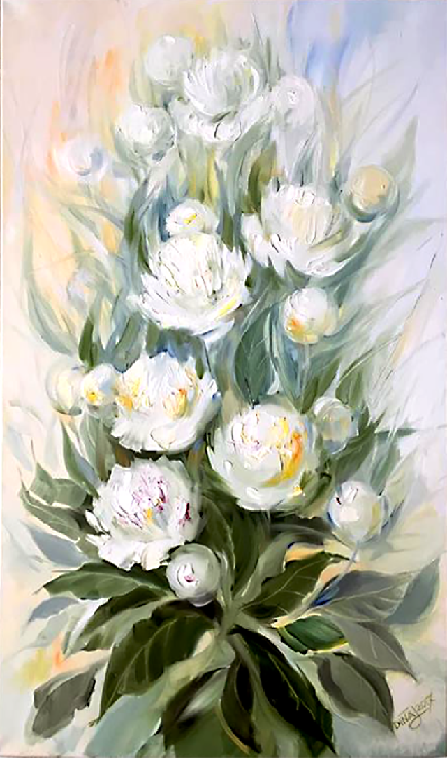 White Peony 2 original painting by Dina Jankauskienė. Flowers