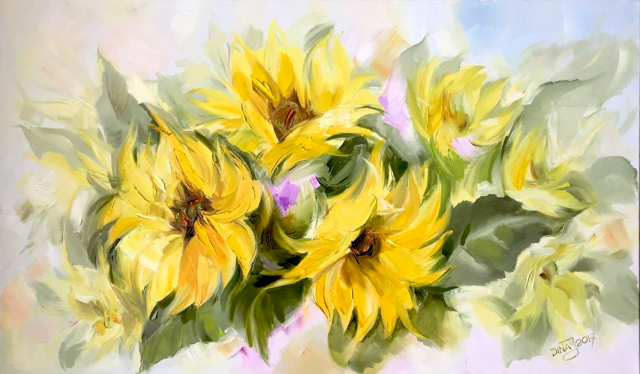 Sunflowers original painting by Dina Jankauskienė. Oil painting