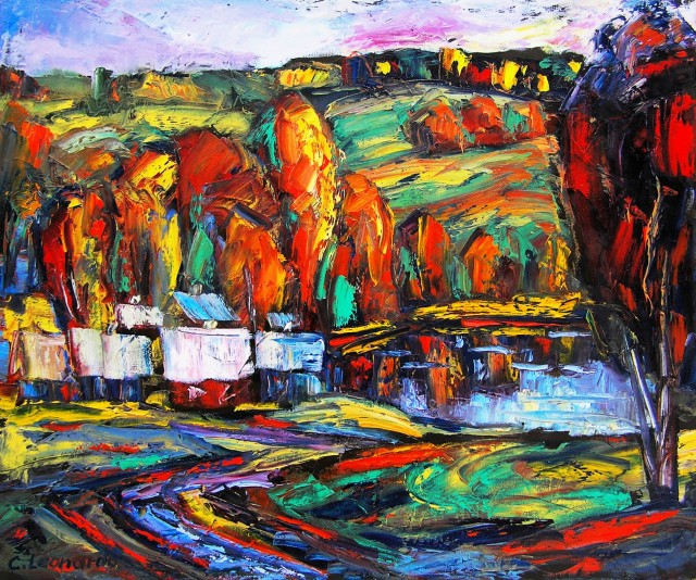 Autumnal Landscape original painting by Leonardas Černiauskas. For living room
