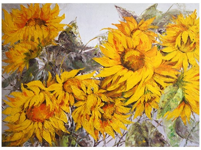 Sunflowers II original painting by Danutė Virbickienė. Oil painting