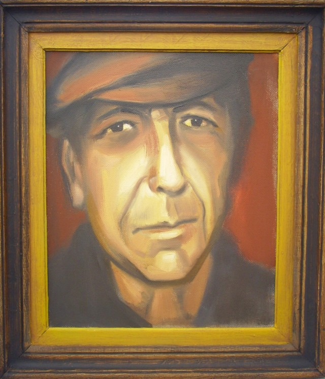 Portret of Leonard Cohen original painting by Vidmantas Jažauskas. For living room