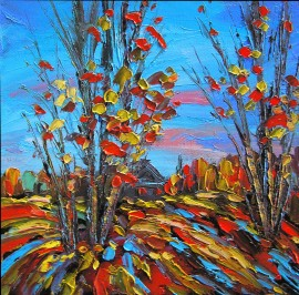 Motive of Autumn original painting by Leonardas Černiauskas. Oil painting