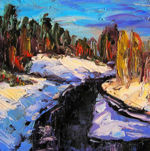 Winter original painting by Leonardas Černiauskas. Oil painting