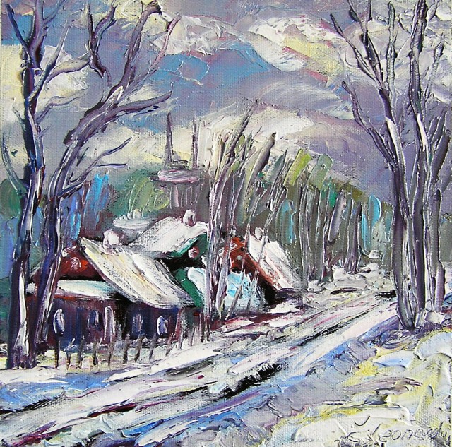Winter in a Village original painting by Leonardas Černiauskas. For living room