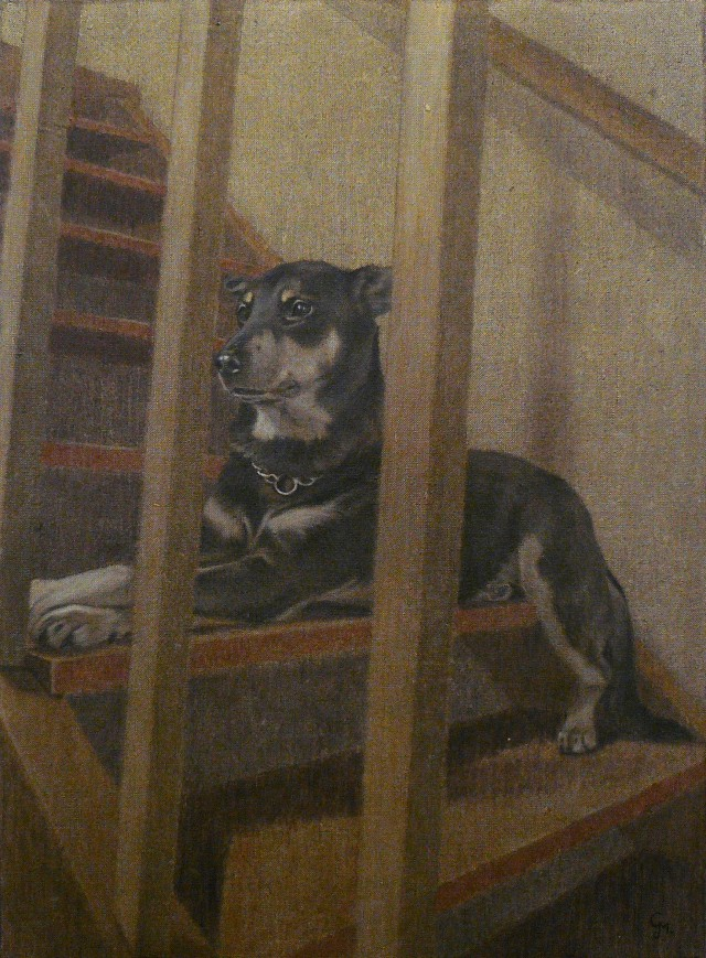 Dog on the Stairs original painting by Gintarė Marčiulynaitė. Animalistic Paintings