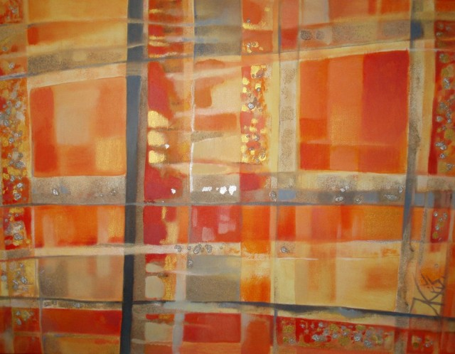 Orange Window original painting by Natalija Kriščiūnienė. Acrylic painting
